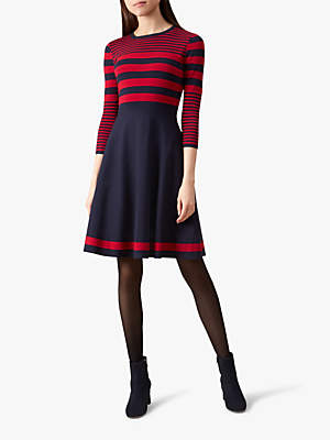 Nelly Knitted Dress, Navy/Red