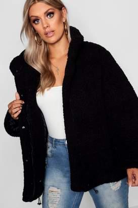 boohoo Plus Oversized Fleece Puffer Jacket