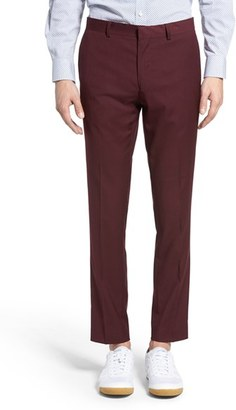 Men's Topman Burgundy Slim Fit Suit Trousers $80 thestylecure.com