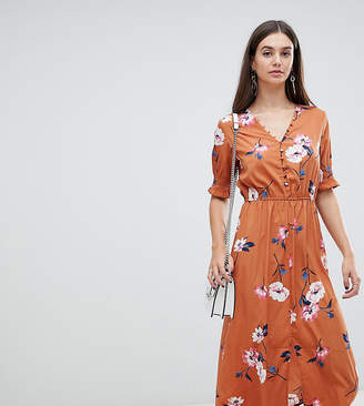 Influence Tall shirred sleeve floral midi dress with button down front