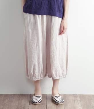 Sunvalley フレンチリネン日本製品染 裾ギャザーガウチョパンツ(キナリ)[SALE]