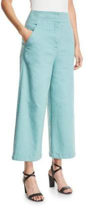 Tibi Demi Wide-Leg Garment-Dyed Twill Cropped Jeans