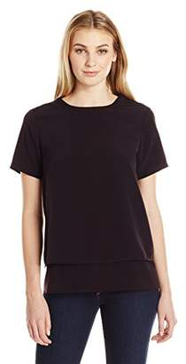 Lark & Ro Women's Short Sleeve V Back Top