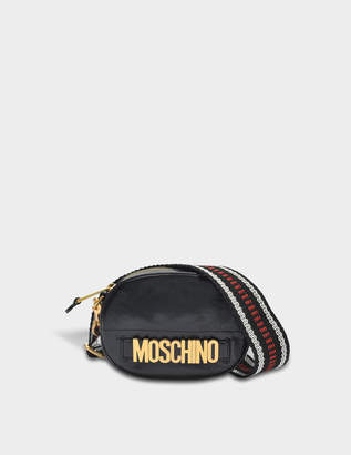 Moschino Lettering Camera Bag in Black Deerskin