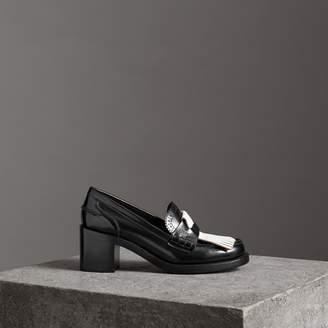 Burberry Contrast Kiltie Fringe Leather Block-heel Loafers