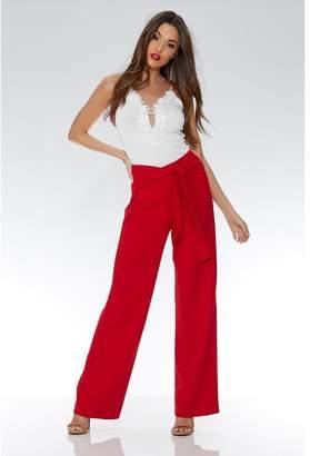 Quiz Red Crepe Tie Belt Palazzo Trousers