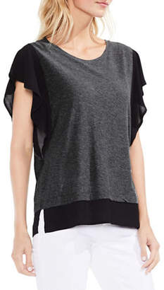 Vince Camuto Ruffle-Sleeve Mix Media Top