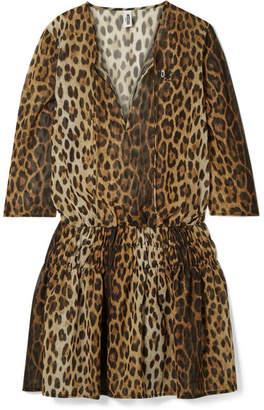 Moschino Shirred Leopard-print Chiffon Mini Dress - Leopard print