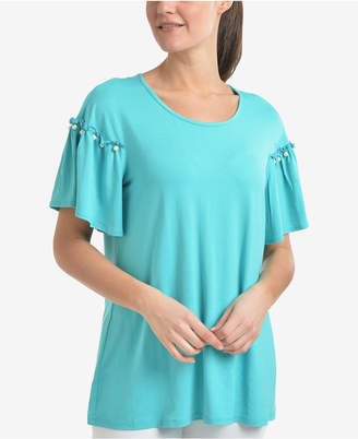 NY Collection Embellished Ruffle-Sleeve Top