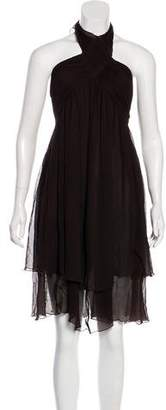 Black Halo Silk Halter Dress