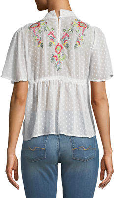 Free Generation Mock-Neck Embroidered Blouse