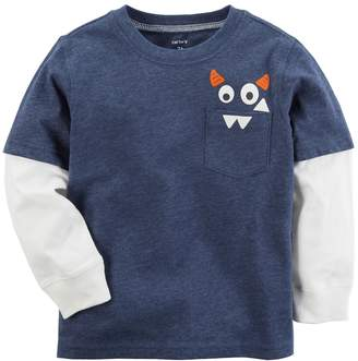 Carter's Baby Boy Monster Mock-Layer Long Sleeve Graphic Tee