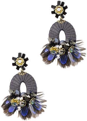 Saachi Elena Beaded & Feathered Drop Earrings