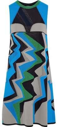 M Missoni Mesh-Paneled Metallic Crochet-Knit Cotton-Blend Dress