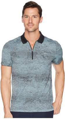 Lacoste Short Sleeve Jersey Tech All Over Print Zip Placket Men's Short Sleeve Pullover