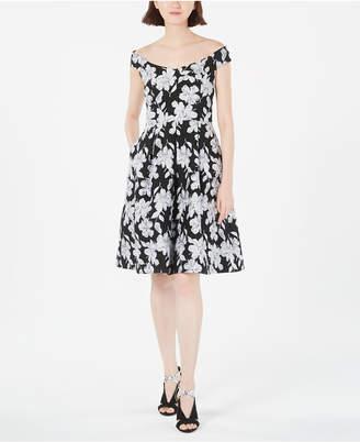 Calvin Klein Off-The-Shoulder Brocade Floral Fit & Flare Dress
