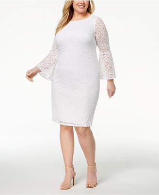 Alfani Plus Size Lace Bell-Sleeve Sheath Dress, Created for Macy's