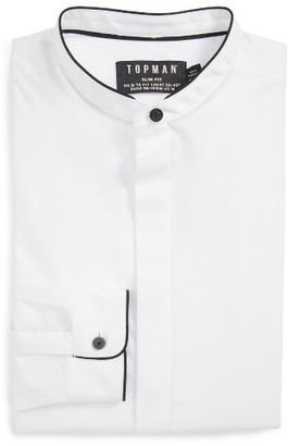 Men's Topman Slim Fit Band Collar Dress Shirt $50 thestylecure.com