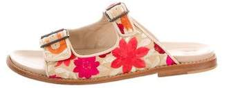 Manolo Blahnik Embroidered Slide Sandals
