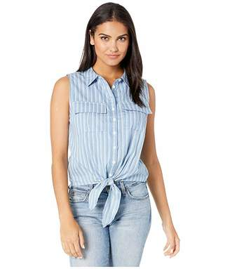 Miss Me Striped Button Up Sleeveless Top