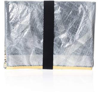 Huner Fold Over Clutch 0038 With Yellow Stripe
