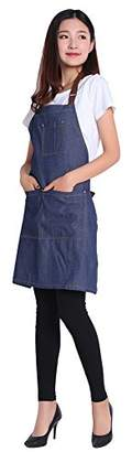 DR.ELK Adjustable Denim Jean Aprons with 3 Pockets for Women Men Chef Barista Bartender Painter in Cooking Kitchen Bistro Cafe