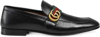 Gucci Black GG Web Leather loafers