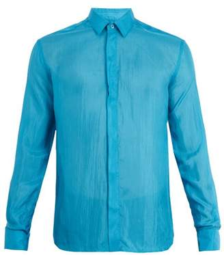 Saint Laurent Point Collar Silk Shirt - Mens - Blue