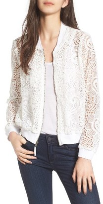 Women's Ella Moss Pixie Sheer Lace Bomber Jacket $198 thestylecure.com