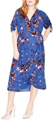 Rachel Roy Floral Print Wrap Midi Dress