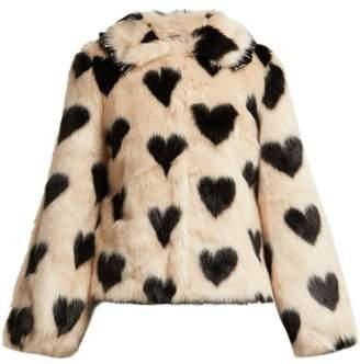 Shrimps - Cullen Heart Print Faux Fur Jacket - Womens - Beige Multi