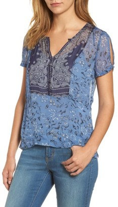 Women's Lucly Brand Mixed Scarf Print Top $79.50 thestylecure.com