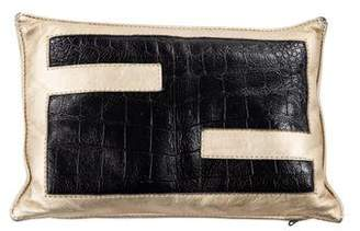 Fendi Embossed Leather Throw Pillow
