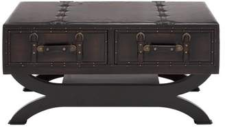 DecMode Decmode Traditional 40 Inch Dark Brown Leather Coffee Table with Buckles and Studs