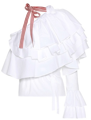 Corkscrew One-shoulder Cotton Top