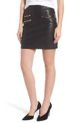 Hudson High Waist Moto Lambskin Leather Miniskirt