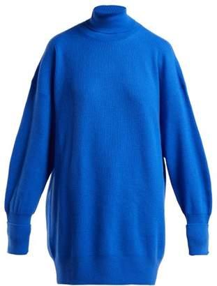 Maison Margiela Oversized Elbow Patch Wool Roll Neck Sweater - Womens - Blue