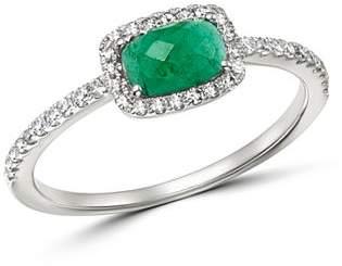 Meira T 14K White Gold Emerald & Diamond Ring