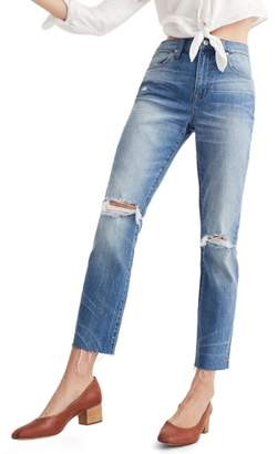 Madewell Ripped High Waist Slim Boyfriend Jeans