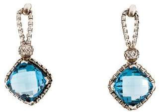 David Yurman Blue Topaz & Diamond Cushion On Point Earrings