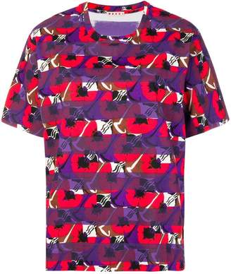 Marni colour-block floral T-shirt