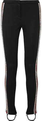 Gucci Crystal-embellished Striped Tech-jersey Stirrup Leggings - Black