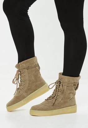 Missguided Beige High Top Lace Up Platforms