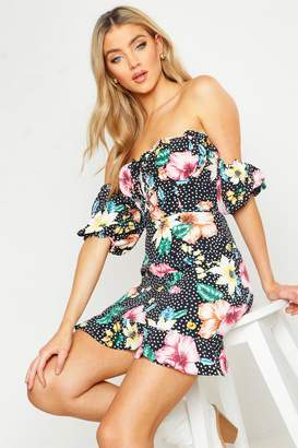 boohoo Sweetheart Puff Sleeve Floral Lace Up Mini Dress