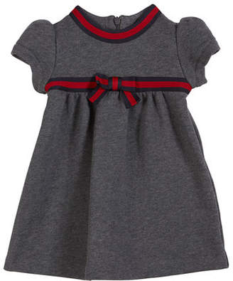 Gucci Short-Sleeve Web-Trim Dress, Size 6-36 Months