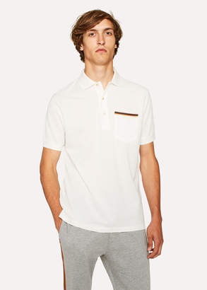 Paul Smith Men's Slim-Fit White Cotton-Pique Polo Shirt With 'Artist Stripe' Pocket