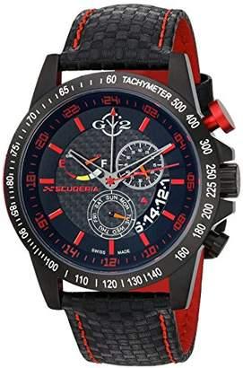 GV2 by Gevril Scuderia Mens Chronograph Swiss Quartz Alarm GMT Black Leather Strap Sports Racing Watch