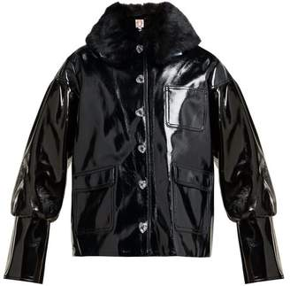 Shrimps - Liam Faux Fur Collar Pvc Bomber Jacket - Womens - Black