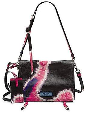 Prada Women's Tie-Dye Front Flap Leather Shoulder Bag