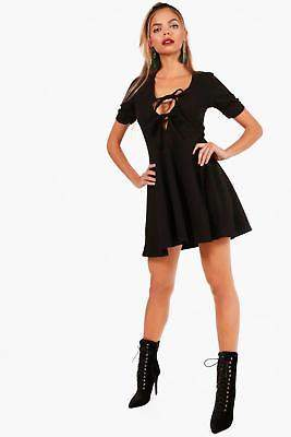 boohoo NEW Womens Tie Front Ruched Sleeve Mini Skater Dress in
